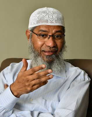 Tough challenge: Zakir Naik during an interview with THE WEEK | Sanjay Ahlawat