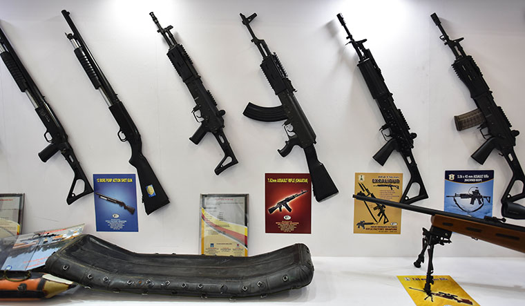 Assault guns manufactured by Ordnance Factory Board on display at the International Police Expo 2019 in Delhi   Getty Images