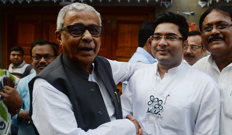 Relief, at last: Trinamool Congress leader Sisir Adhikari (left) with fellow MP Abhishek Banerjee. Adhikari was named in a case of rioting and unlawful assembly. The FIR was filed in 1981, and the case was disposed of a few months ago | Salil Bera