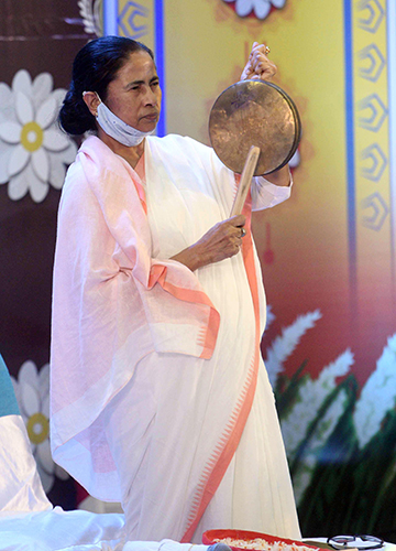 Bellwether moment: Mamata during the virtual inauguration of Durga Puja pandals in Kolkata on October 15.
