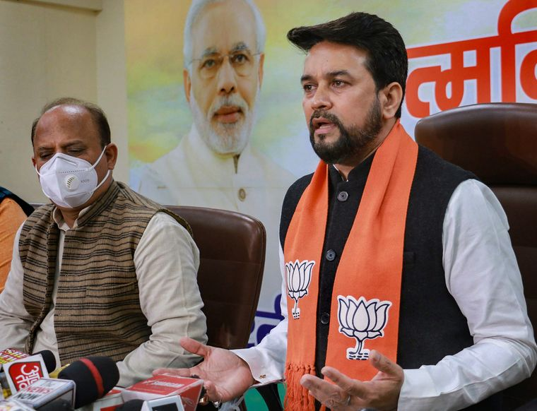 Seeking change: The BJP's Jammu & Kashmir DDC election in-charge Anurag Thakur addresses a press conference at the party office in Jammu | PTI