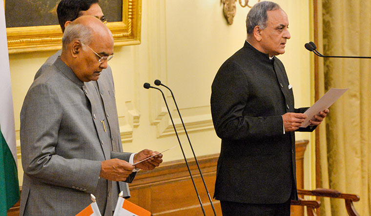 For the people: Bimal Julka (right) was sworn in as chief information commissioner by President Ram Nath Kovind on March 6. During the lockdown, he has urged state commissioners to think of innovative measures to resume hearings | PTI