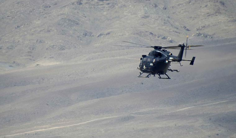 On guard: A Dhruv helicopter during a sortie in Ladakh.