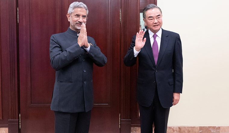 Uneasy ties: External affairs minister s. Jaishankar with Chinese Foreign Minister Wang Yi on the sidelines of the Shanghai Cooperation Organisation meeting in Moscow on September 10 | Reuters