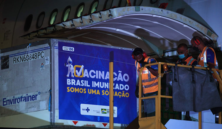 Foreign aid: Containers carrying India's Covishield vaccine in Rio de Janeiro, Brazil | AFP