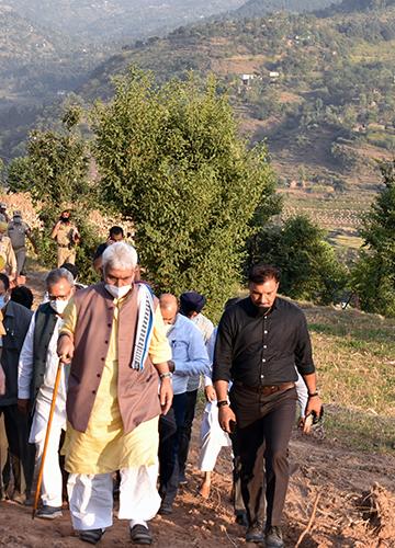 Firm steps: Sinha visiting Tarkasi village in Rajouri.