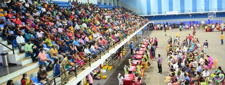Good response: The mega vaccination drive at Jimmy George Indoor Stadium, Thiruvananthapuram   Rinkuraj Mattancheriyil