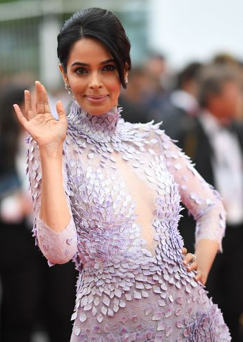Lavender lady: Mallika at Cannes 2018 | AFP