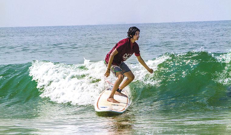 Making waves: Surfer Aneesha Nayak.