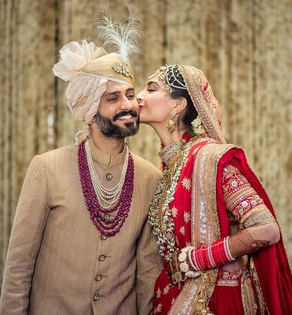 True love's kiss: the wedding planners of Sonam Kapoor and Anand Ahuja say the couple wanted an intimate event.