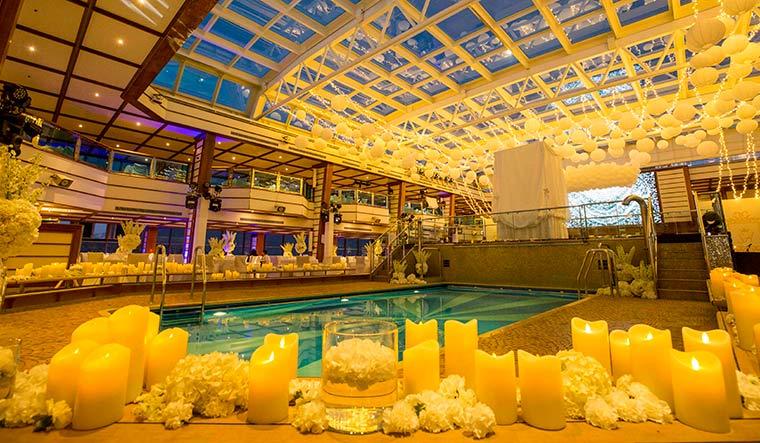 Danube heir Adel Sajan got married to Sana Khan on a luxury cruise liner.