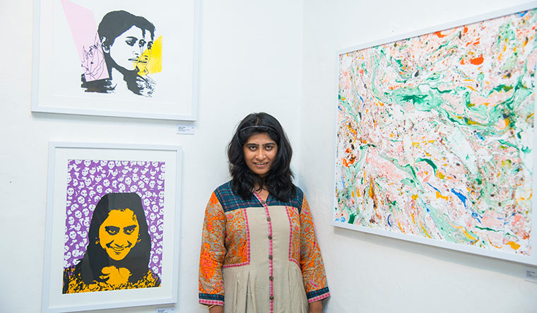 Sakshi Chalke with her works My Selves and I am Sakshi   Vipin Das P.