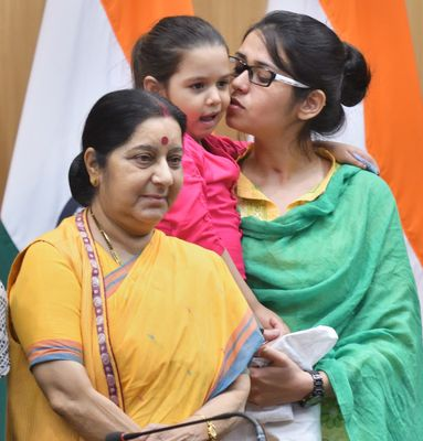 Home sweet home: Ahmed with external affairs minister Sushma Swaraj and her daughter Falak upon her return to India in May 2017 | Sanjay Ahlawat