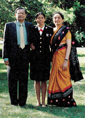 Birds of a feather: Bhagwati with parents in 2001.