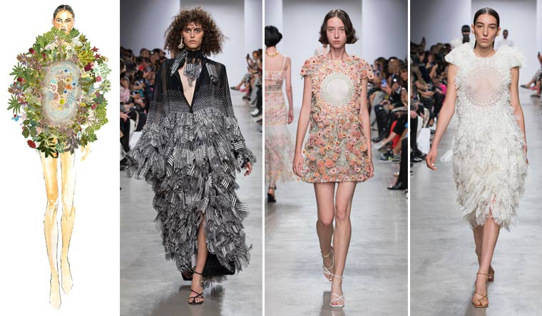 Flower power: (From left) Mishra's concept sketch for the Paris Haute Couture Week; models in his ready-to-wear Spring/Summer collection at the Paris Fashion Week last year.