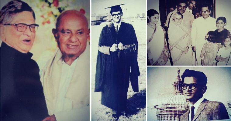 (clockwise from left) S.M. Krishna with H.D. Devegowda; after graduating from Southern Methodist University, Texas; with Indira Gandhi, his wife Prema, his two daughters and R. Gundu Rao, at his residence; in front of the White House