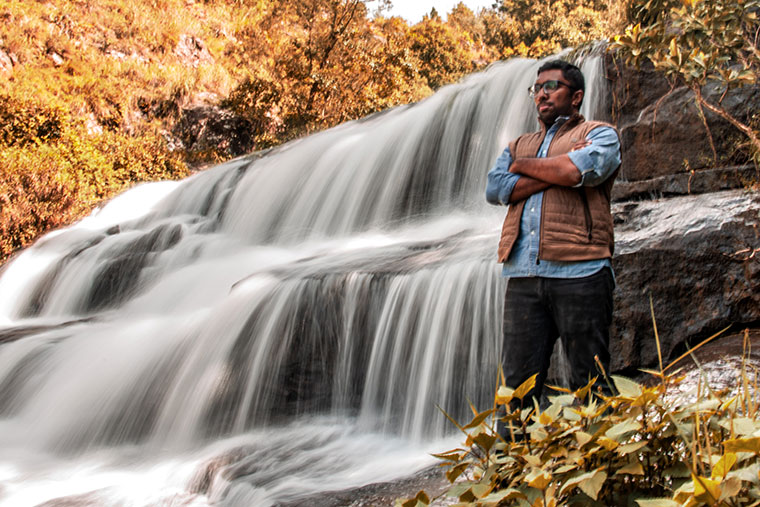 Samuel by the waterfalls in the Nilgiris | Immanuel David