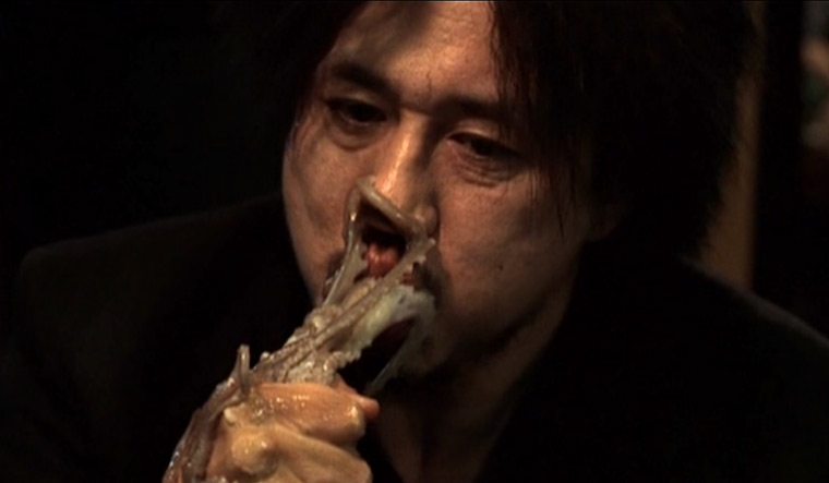 The 'live octopus' scene in Oldboy, which won the Grand Prix at Cannes in 2004.