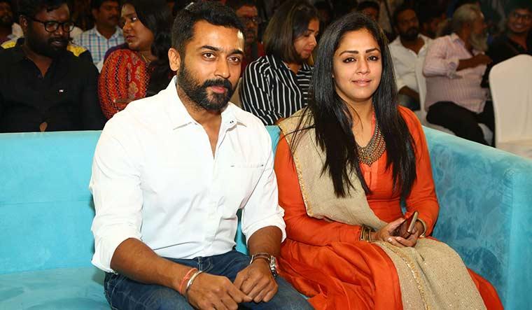 Comeback queen: Jyothika and husband, Suriya.
