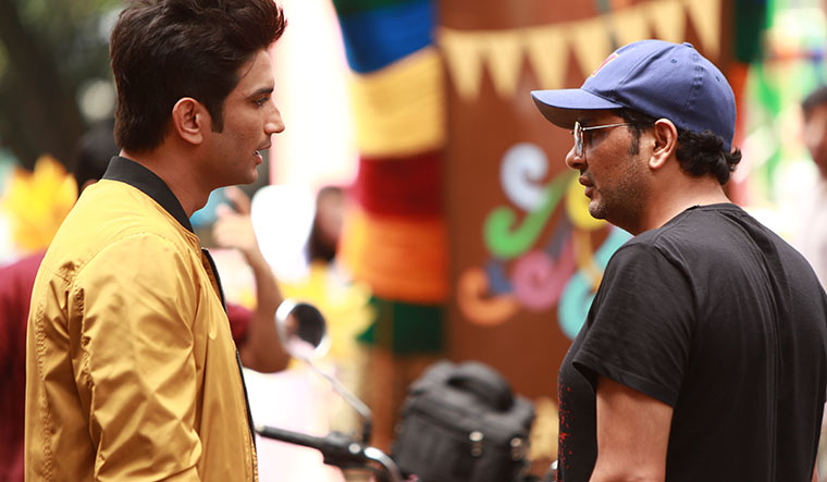 Final act: Chhabra with Rajput on the sets of Dil Bechara.