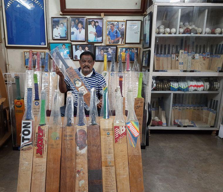 Saroj Ranjan Kar with his cricket memorabilia collection.