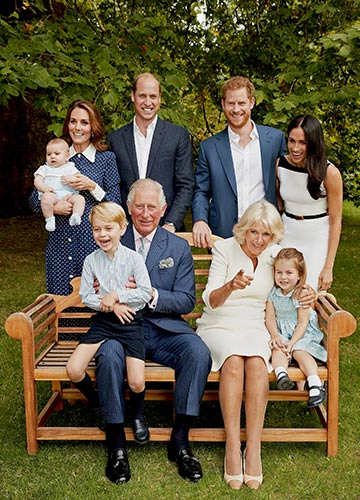 Happier times: Harry and Meghan with Prince Charles, Camilla, Willliam, Catherine, George, Charlotte and Louis on the 70th birthday of Charles in London | Reuters