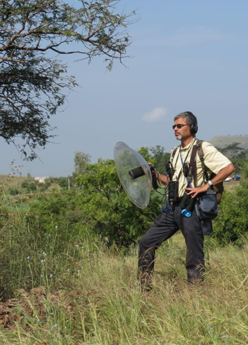 Birds and birders: Sharad Apte with his recording equipment.