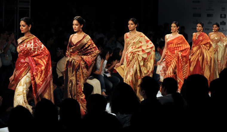 Playful pleats: models showcasing Satya Paul designs