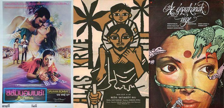 Film art (from left) Thai poster for Salaam Bombay, Czech poster for Apur Sansar and Hungarian poster for Nishant