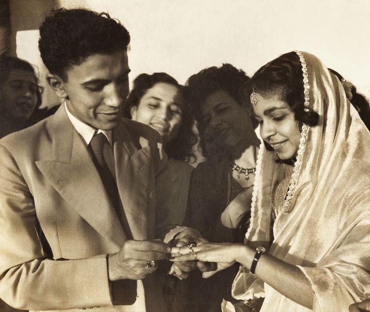 The wedding of Feisal's parents, Ebrahim and Roshen, in1946