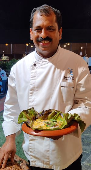 Hungry for more: Pillai with his signature dish, neymeen nirvana