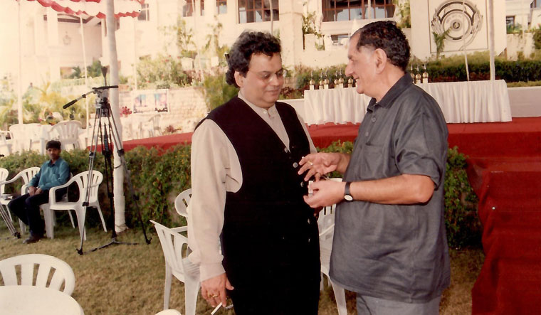 Anand Bakshi with Subhash Ghai at the launch of Taal