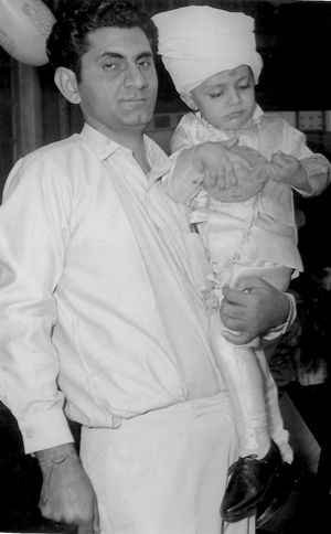 A1965 photo of Rakesh with his dad