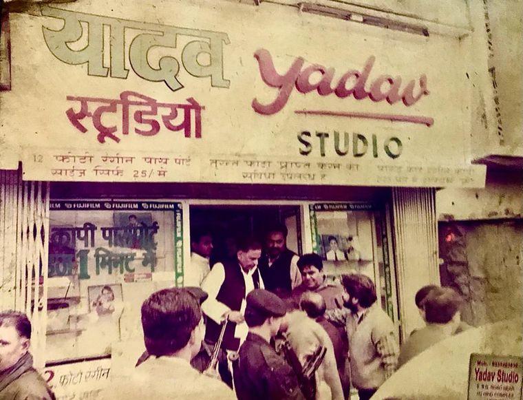 Celebrity studio: SP leaders Mulayam Singh Yadav (centre) and Akhilesh Yadav (in white kurta, behind Mulayam) at Yadav Studio in Lucknow.