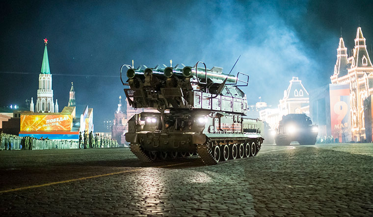 Banking on military muscles: Russia's Buk-M2 missile system on display during a parade in Moscow | AP