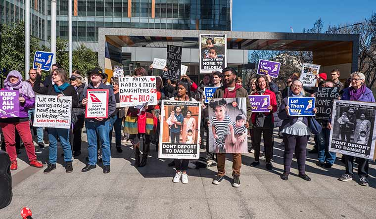 Voicing solidarity: Protesters in Melbourne demanding asylum for a refugee family | Getty Images