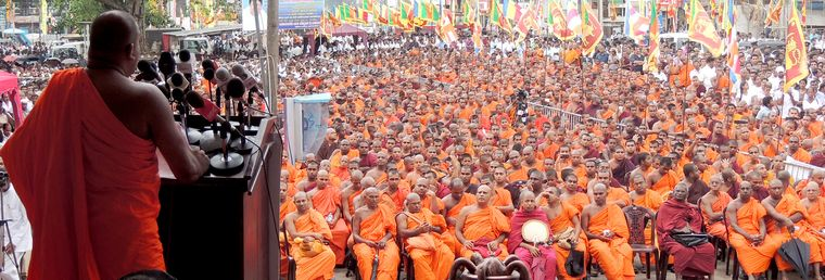 Loud and clear: Gnanasara addresses a gathering of Buddhist monks in Sri Lanka.