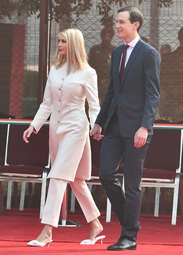 Family affair: President Trump's daughter Ivanka Trump with her husband, Jared Kushner, after the ceremonial reception at the Rashtrapati Bhavan | Sanjay Ahlawat