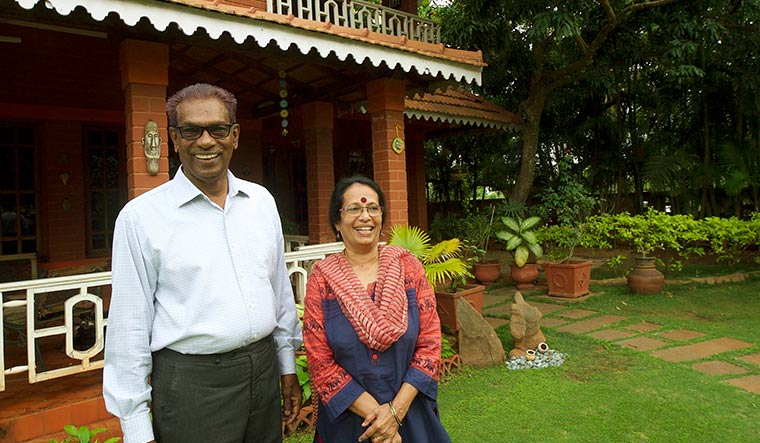 Proud moment: Gita's parents Gopinath and Vijayalakshmi at their residence in Mysuru | Nethra Raju
