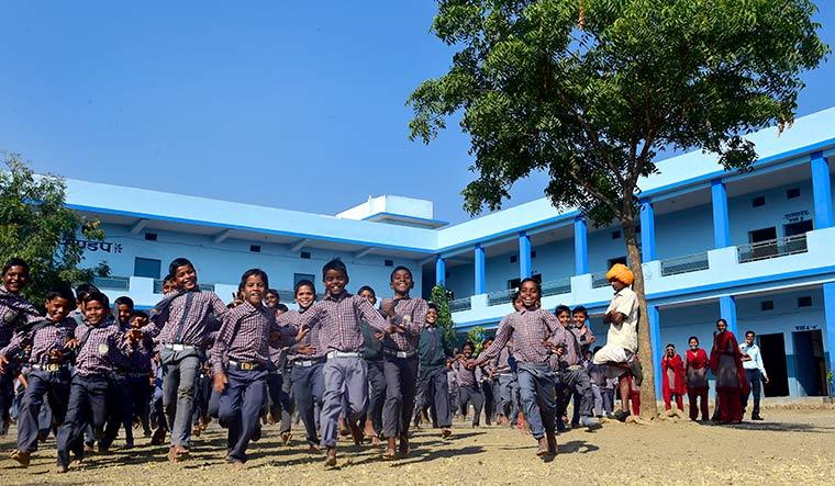Happy campers: Students at Buniyadi Shala at Sampark Gram.