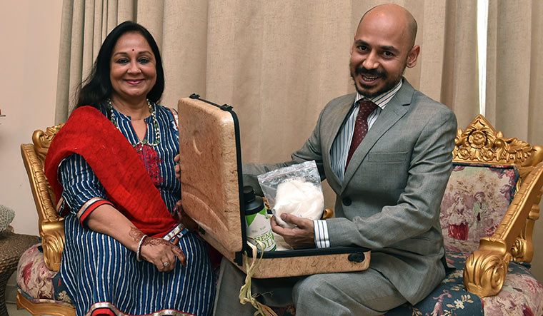 Making a case for cannabis: Shantanu Mishra, with mother, Padma, holding a briefcase made of hemp fibre | Aayush Goel