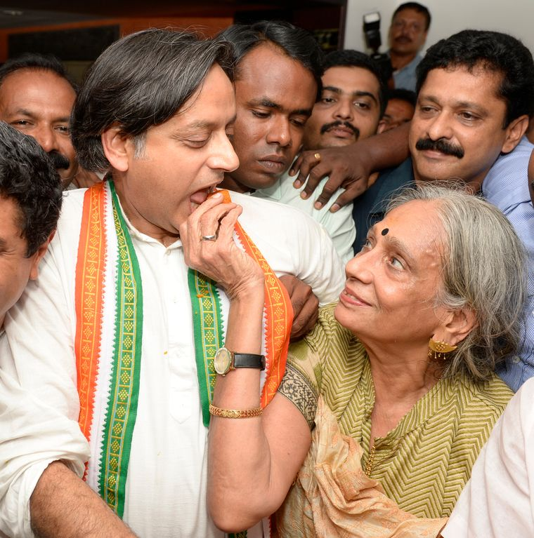 Sweet victory: Shashi Tharoor with mother, Lily, after winning the Lok Sabha seat from Thiruvananthapuram in 2014 | Manoj Chemancheri
