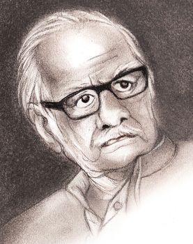 Kuldip Nayar August 14 1923 - August 23 2018 | Drawing Bhaskaran