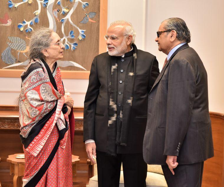 Mutual respect: Bhagwati and Desai with Prime Minister Narendra Modi.