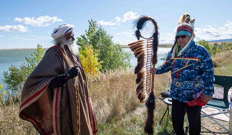Mystical bond: Sadhguru with Chief Izzy Black Spotted Horse of Lakota (native American) tribe | Courtesy Isha Foundation