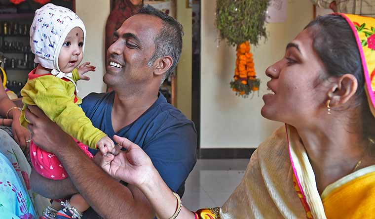 Family time: Disale with his wife, Nishigandha, and son Manas |  Amey Mansabdar