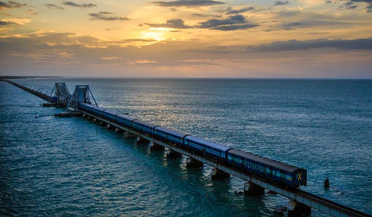 Chugging along: a train passing through Rameswaram in Tamil Nadu