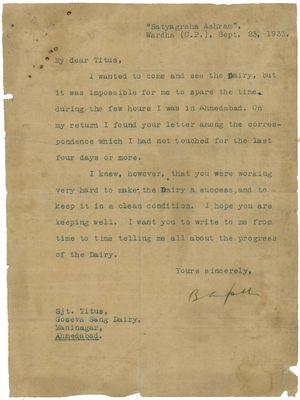 Gandhi's letter to Titus in 1933.