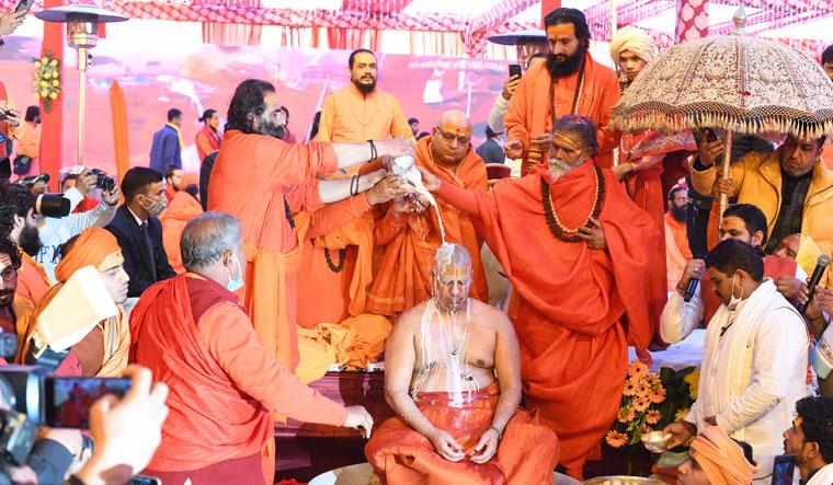 The coronation of Swami Kailashanand Giri as Mahamandleshwar Acharya of Niranjini Akhara