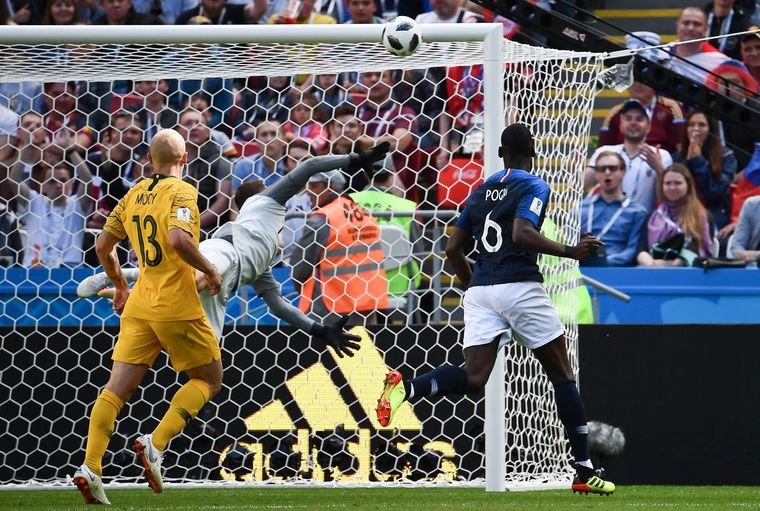Paul Pogba scores France's winner against a resolute Australia | AFP